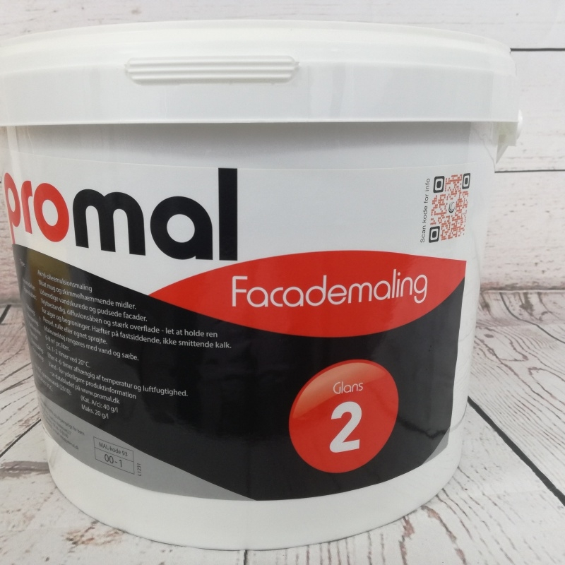 Facademaling Promal glans 2, 10 Liter Hvid