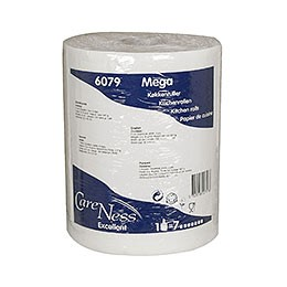 MEGA Køkkenrulle 2-lags perforeret hvid 22cmx100m Careness